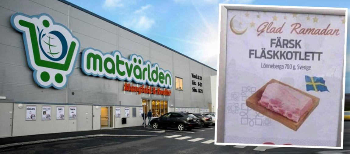Švédský obchod s potravinami vítal muslimy vepřovou kotletou