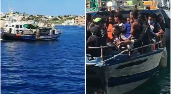 Dnes vyložila rybářská loď na Lampeduse 547 mužů a 3 ženy (videa)