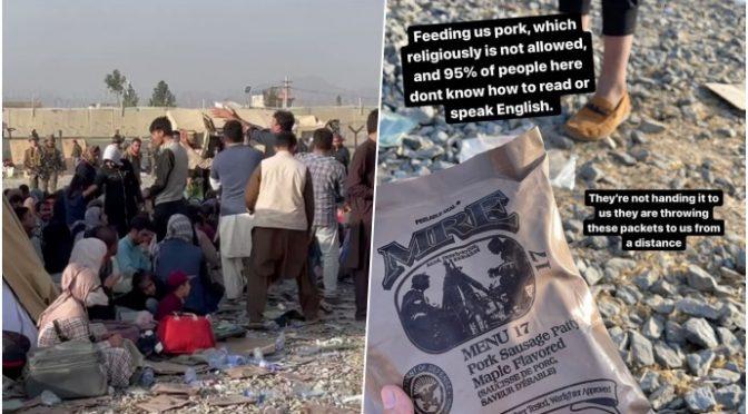 Údajně hladoví a před Talibánem prchající Afghánci vyhazují jídlo – je tam vepřové (video)
