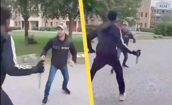 Rvačka na nože ve švédské multikulturní čtvrti: Arab versus černoch (video)