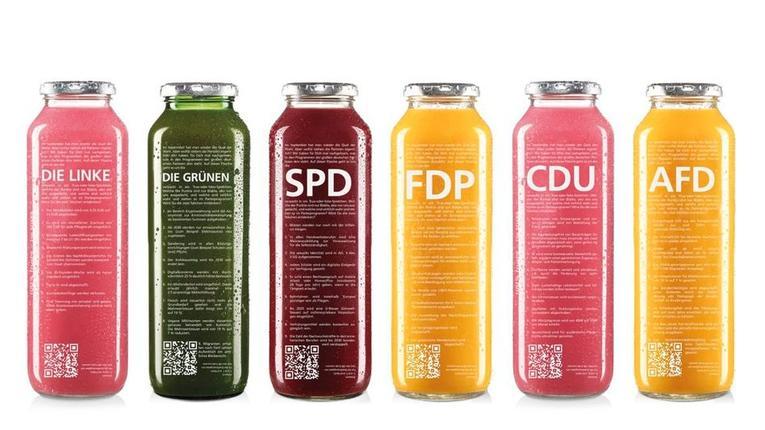 Německý výrobce ovocných nápojů nabízí své výrobky v lahvích s programem politických stran, řetězec Edeka odmítl prodávat lahve s programem AfD