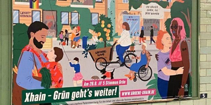 Němečtí Zelení propagují na svých předvolebních plakátech násilnou Antifu